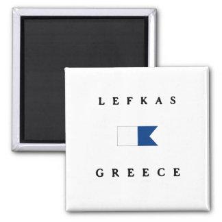 Flagga för Lefkas Grekland alfabetiskdyk Magnet