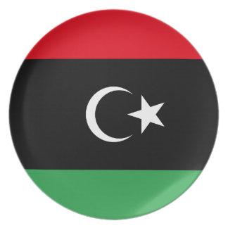 Flagga för Libyen medborgarevärld Tallrikar