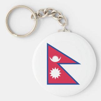 Flagga för Nepal medborgarevärld Rund Nyckelring