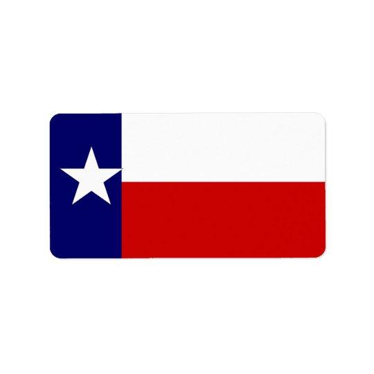 Flagga för produktetikettTexas statlig design för  Adressetikett