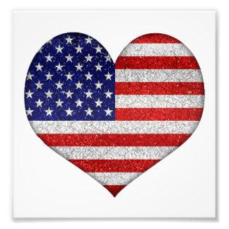 Flagga för Shape för USA-Grungehjärta Fotografiska Tryck
