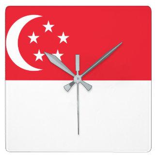 Flagga för Singapore medborgarevärld Fyrkantig Klocka