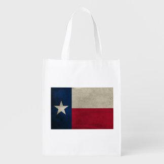 Flagga för stjärna för Texas grunge enkelsidig Återanvändbar Påse