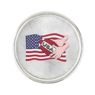 Flagga för supportrar för USA Rugbylag med boll Kavajnål