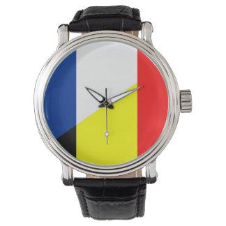 flagga för symbol för land för frankrikeBelgien Armbandsur