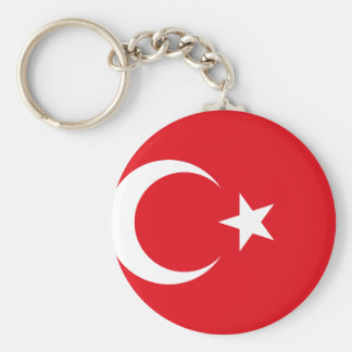 Flagga för Turkiet medborgarevärld Rund Nyckelring