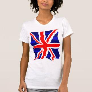 Flagga för UK för Corey tiger80-tal Retro brittisk Tee Shirt