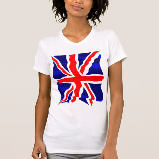 Flagga för UK för Corey tiger80-tal Retro brittisk Tee Shirt
