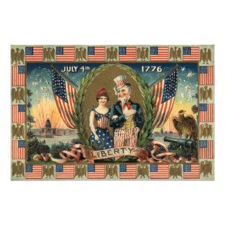 Flagga för US för pojkesmällarefyrverkerier Fototryck