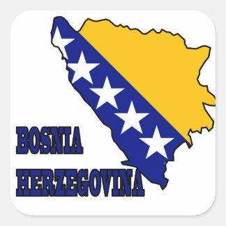 Flagga i karta av Bosnien - herzegovina Fyrkantigt Klistermärke