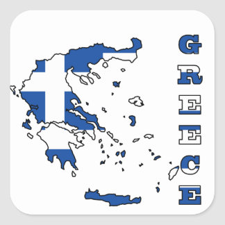 Flagga i karta av Grekland Fyrkantiga Klistermärken