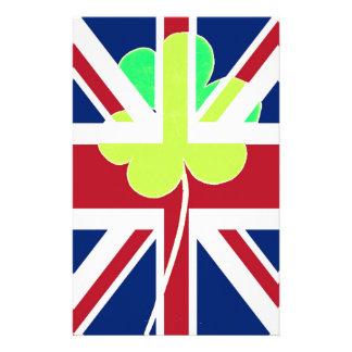 Flagga Irland för UK för St Patrick Shamrockklöver Brevpapper