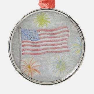 flagga och fyrverkerier julgransprydnad metall