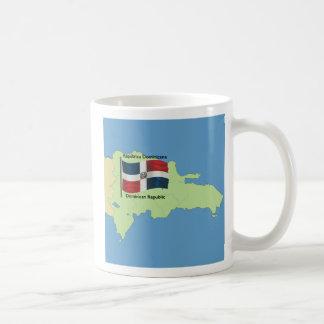 Flagga och karta av Dominikanska republiken Kaffemugg