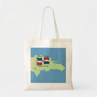 Flagga och karta av Dominikanska republiken Tygkasse