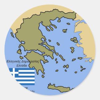 Flagga och karta av Grekland Rund Klistermärke