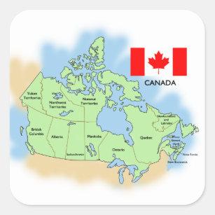 Karta Pa Kanada.Kanada Karta Klistermarken Zazzle Se