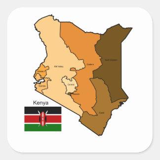 Flagga och karta av Kenya Fyrkantigt Klistermärke