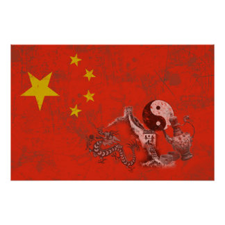 Flagga och symboler av chinan ID158 Poster