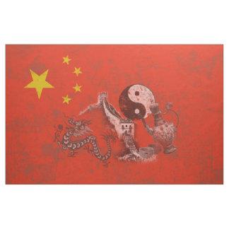 Flagga och symboler av chinan ID158 Tyg
