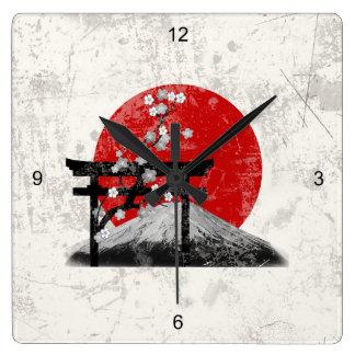 Flagga och symboler av Japan ID153 Fyrkantig Klocka