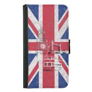 Flagga och symboler av Storbritannien ID154 Plånboksfodral För Samsung Galaxy S5