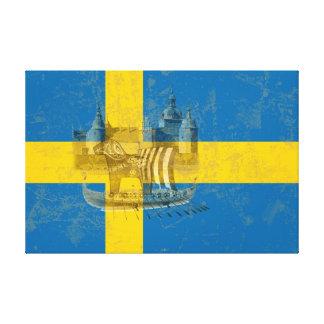 Flagga och symboler av sverigen ID159 Canvastryck