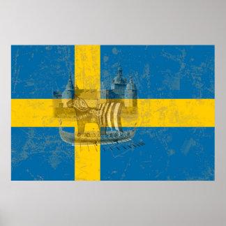 Flagga och symboler av sverigen ID159 Poster