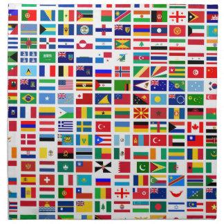 flaggor av världen mot vit tygservett
