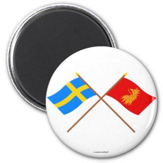 Flaggor för korsad sverige- och Skåne län Magnet