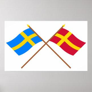 Flaggor för korsad sverige- och Skåneland landskap Posters
