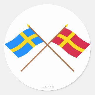 Flaggor för korsad sverige- och Skåneland landskap Runt Klistermärke