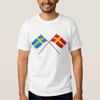 Flaggor för korsad sverige- och Skåneland landskap Tee Shirt