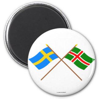 Flaggor för korsad sverige- och Småland landskap Magnet Rund 5.7 Cm