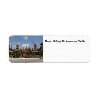 Flagler högskola St Augustine Florida Returadress Etikett