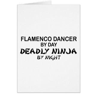 Flamenco dödliga Ninja vid natt Hälsningskort