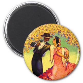 Flamencodansare under de orange träden magnet rund 5.7 cm