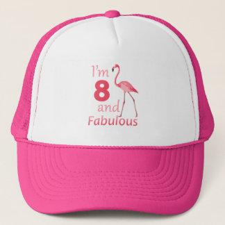 Flamingo för 8th födelsedag för ungar gullig rosa keps