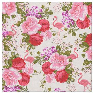 Flamingo för rosa botaniska blommor för vintage tyg