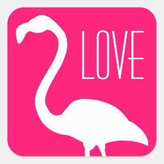 Flamingo för rosor och för vit för personligkärlek fyrkantigt klistermärke