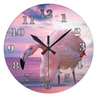 Flamingo och rosahimmel stor klocka