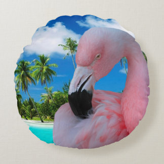Flamingo och strand rund kudde