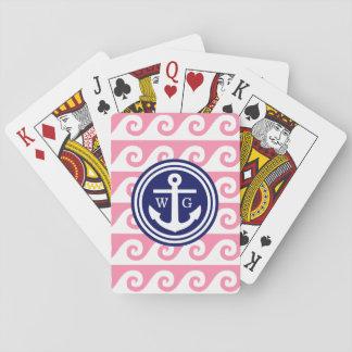 Flamingoen som rosa marinblåa vita ankrar spelkort
