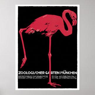 FlamingoMunich för vintage reser den röda zooen Poster