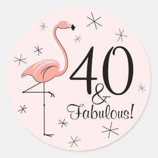 """Flamingorosor 40 och sagolikt!"""", klistermärke"""