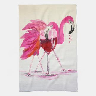 Flamingos i vin kökshandduk