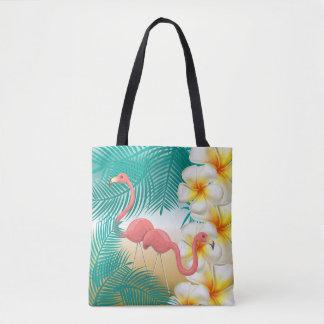 Flamingos på en tropisk stranddesign för kricka tygkasse
