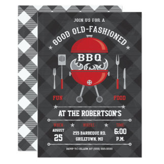 Flamma BBQ grilla inbjudan, svart tavla/Gingham 12,7 X 17,8 Cm Inbjudningskort
