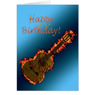 Flammande gitarrfödelsedagkort hälsningskort