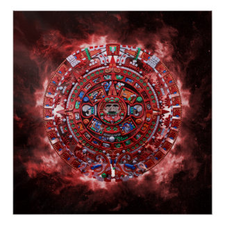 Flammande Mayan kalender Print